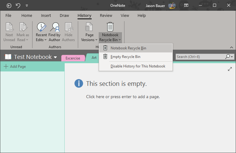 Empty the OneNote Recycle Bin