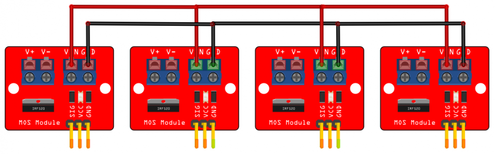 IRF520 modules connected in parallel